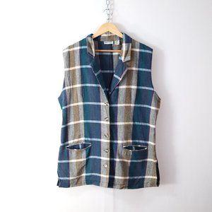 cute vintage 90s plaid flannel tunic vest 20W 2X